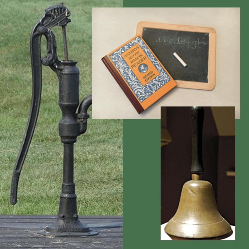 Slate, water pump, and school bell