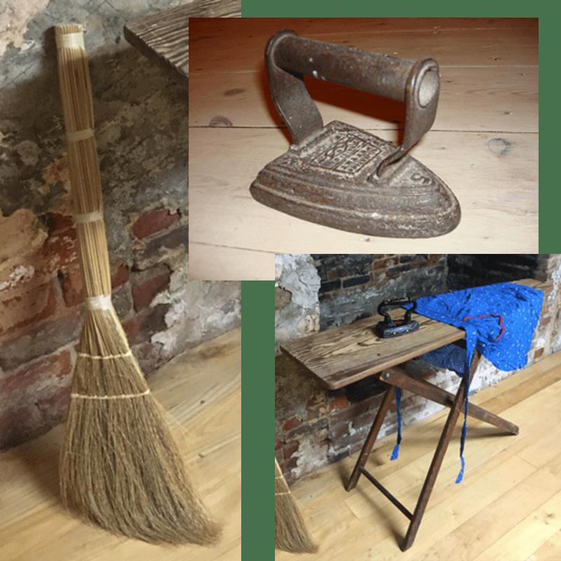 Iron, Straw broom, Ironing board